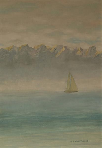 Yatch and Mountains by Anthony Keith Whitehead
