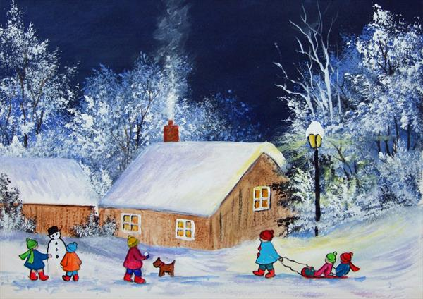 Fun in the Snow.  An original acrylic painting