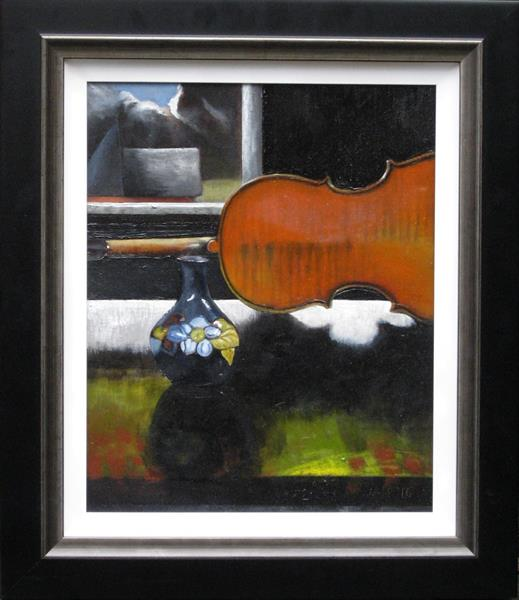 Still Life with Violin and Moorcroft Vase by adrian parker