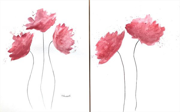 Pink flowers set of 2 (9x12) by Monika Howarth