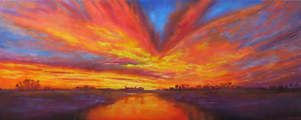 Sunset on the River by Maureen Greenwood