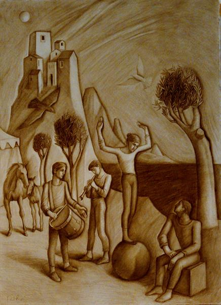 Musicians and Acrobats in Archaic Landscape  by Paul Rossi