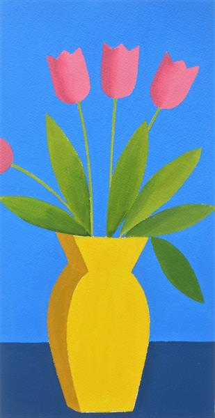 Pink Tulips in a Yellow Vase by Jan Rippingham