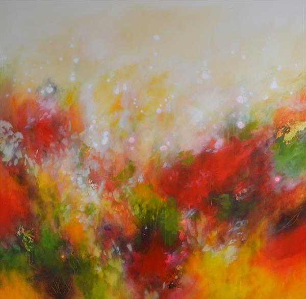Autumnal Fire - Large Original Abstract Painting by Tracy - Ann Marrison