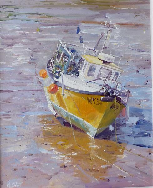 The Yellow Boat - Framed by Michael Salt