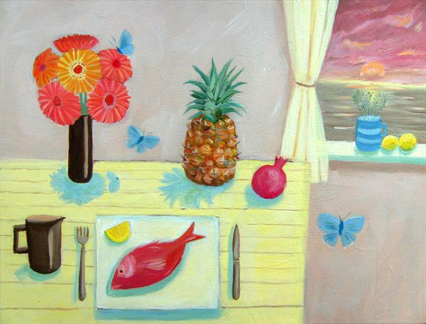 Pineapple, Red Mullet and Apricot Sky by Mary Stubberfield