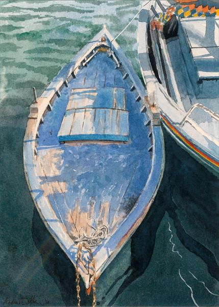 Double-ended Fishing Boat At Sousse by Andrew Dibben