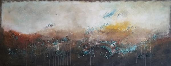 The Unknown Reality 6, Landscape, painting ,brown, green by Veronica Vilsan