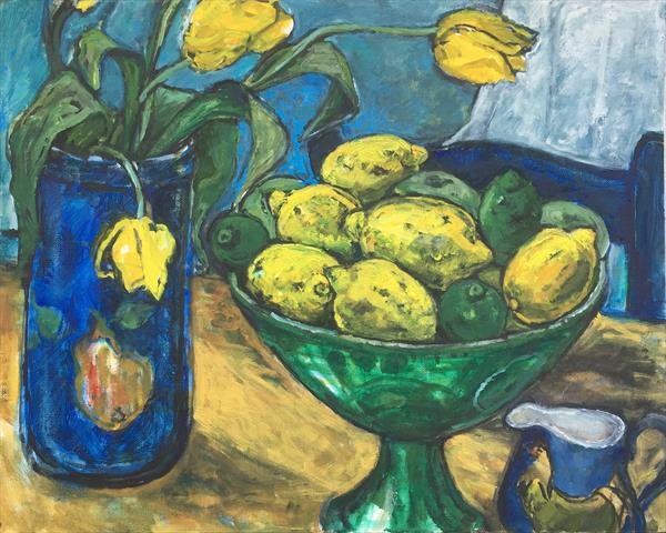 lemons and yellow tulips by Patricia Clements