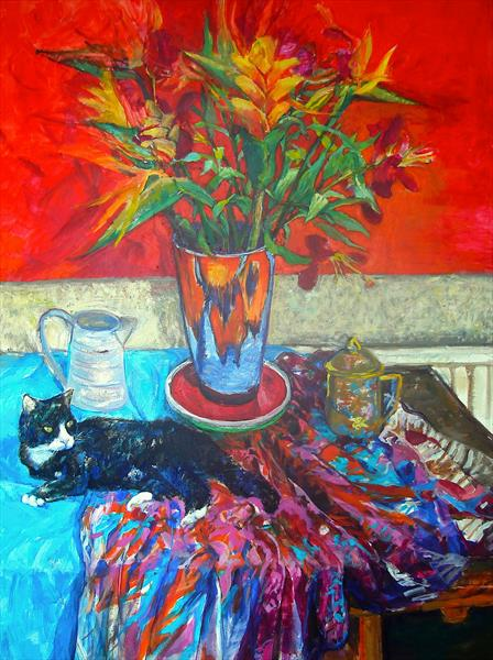 Still life with Bird of Paradise and Black and White cat by Patricia Clements