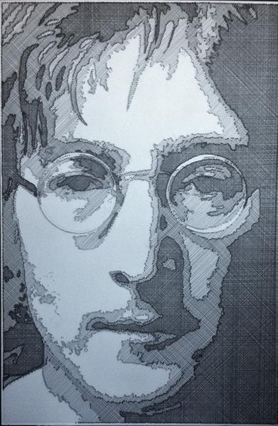John Lennon in wire and nails by Zoe Chapman