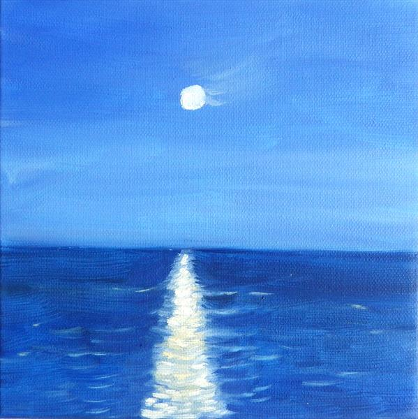 Moon reflection small seascape painting by Mary Stubberfield