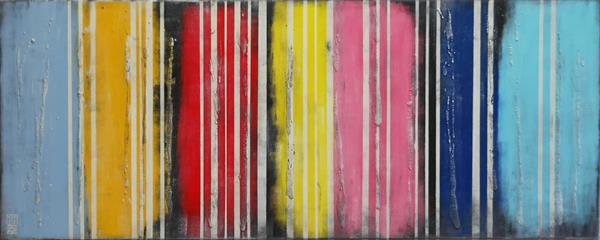 Abstract Painting - Striped Colors on Color - C40 by Ronald Hunter