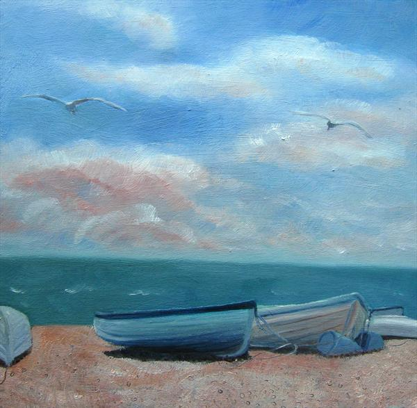 Boats On the Beach by Mary Stubberfield