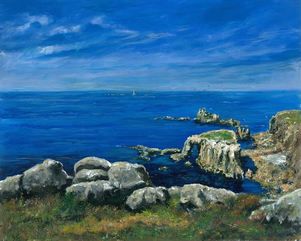 Calm sea Lands End Cornwall by Phil Willetts