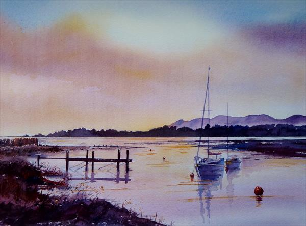 Sunrise over the Estuary on the Teign River by Gill Michael
