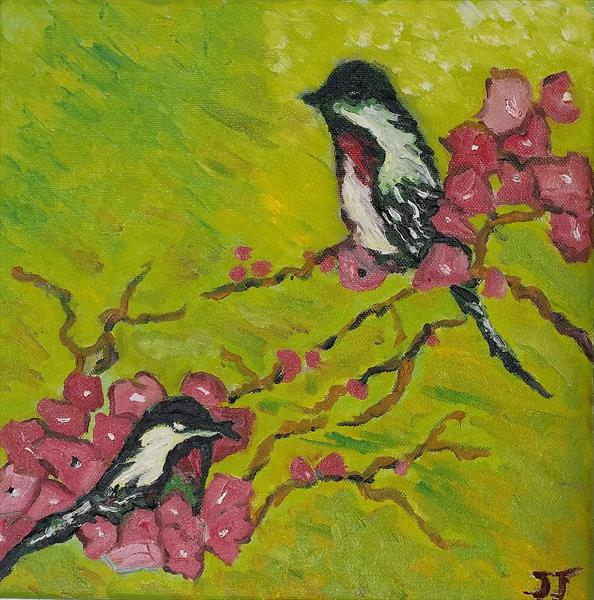 Cherry blossom birds by Janice Jung
