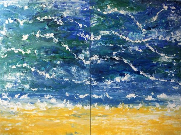 Lovely Cascading Finish(Extra Large Diptych) by Hester Coetzee
