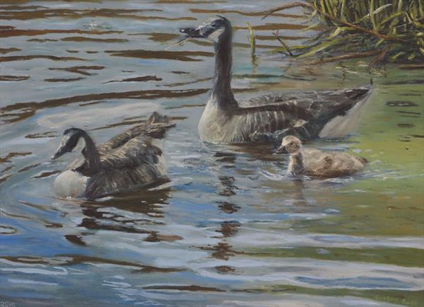Geese with Gosling by Gregory Smith