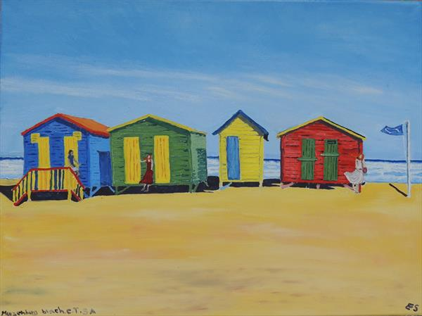 'Poetry in Colours' Muizenberg Beach, Cape Town S.A by Elizabeth Sadler