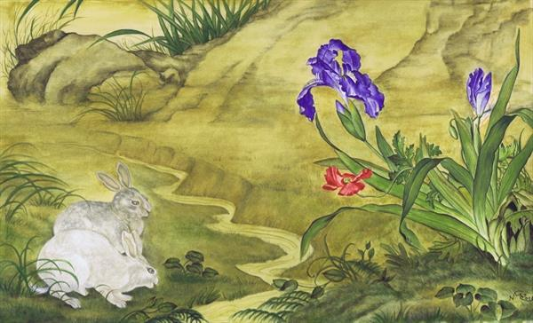 Rabbits, Poppy & Irises