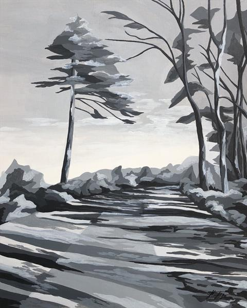 Woodland Path - Monochrome Landscape  by Henrietta Jago