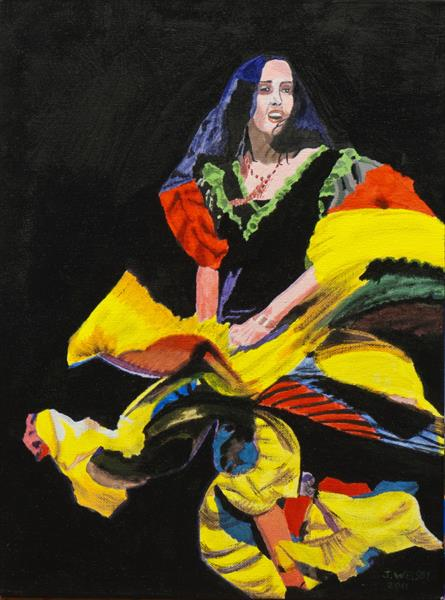 Spanish Flamenco Dancer by Janet Welsby