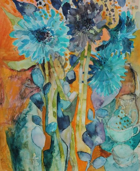 Blue Flowers in a Bunch by Caroline Kaye
