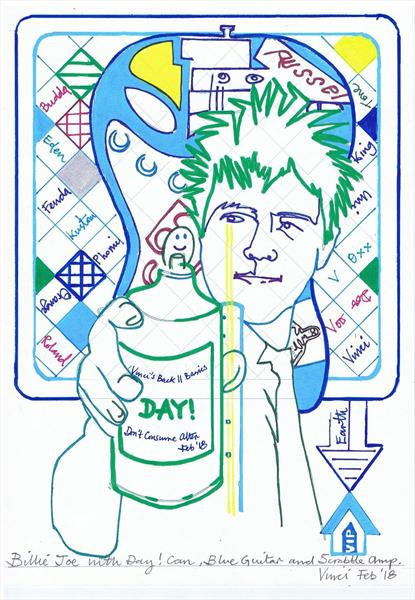 Drawing Project: Billie Joe with Day! Can, Blue Guitar and Amp (singer of Green Day) by Vincent da Vinci