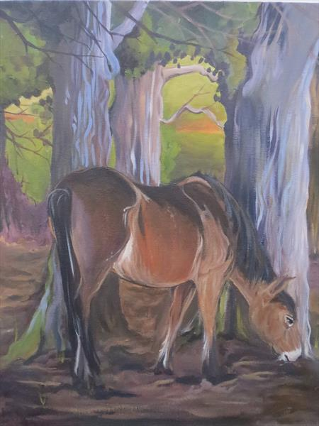 Pony in the woods by Laura Upstone