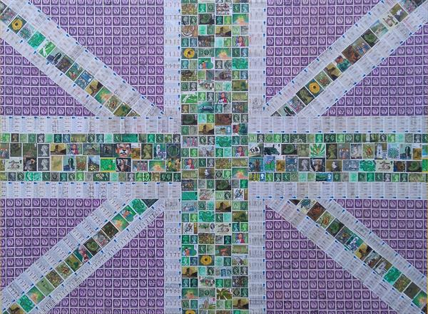 Union Jack in Greens and Purple by Gary Hogben