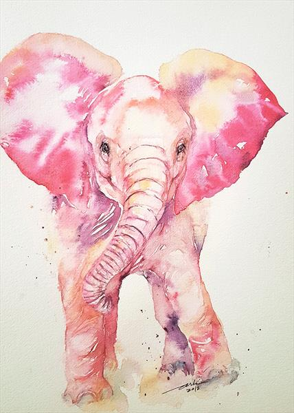 Pink Pippa _ Baby Elephant by Arti Chauhan