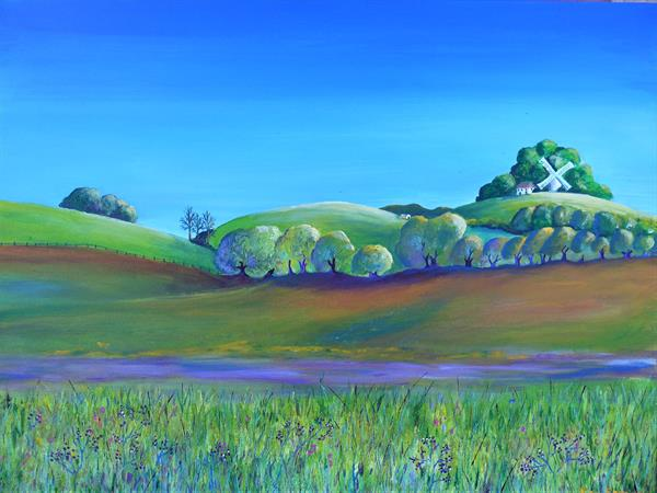 Kentish Hills and Windmill by Sara Spencer