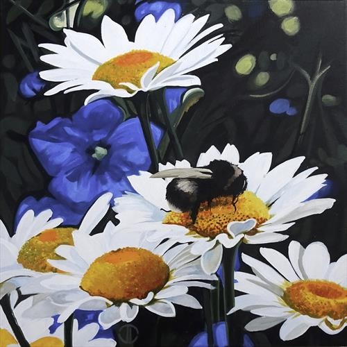 Daisies And Bumblebee by Joseph Lynch