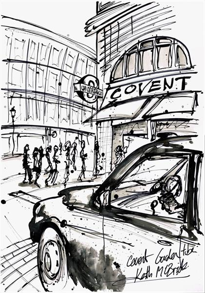 Covent Garden ink drawing by Keith Mcbride