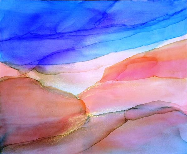Malibu Abstract On Canvas  by Maxine Martin