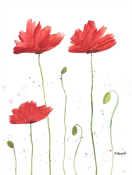 Delightful red poppies nr2 by Monika Howarth