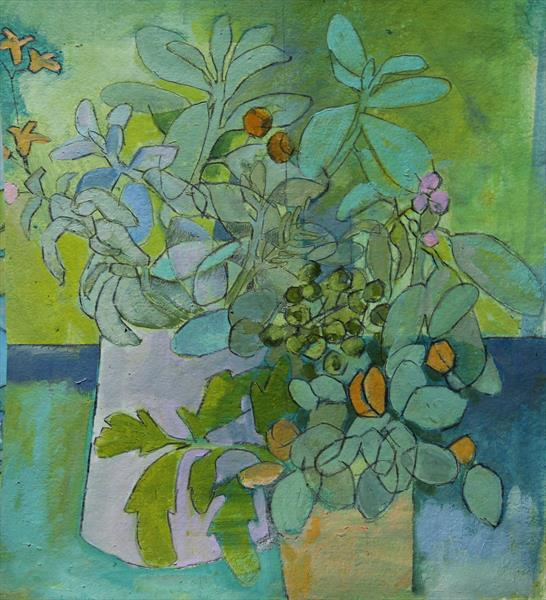 White Jug, Salvias and Rock Roses by Juliet de Falbe