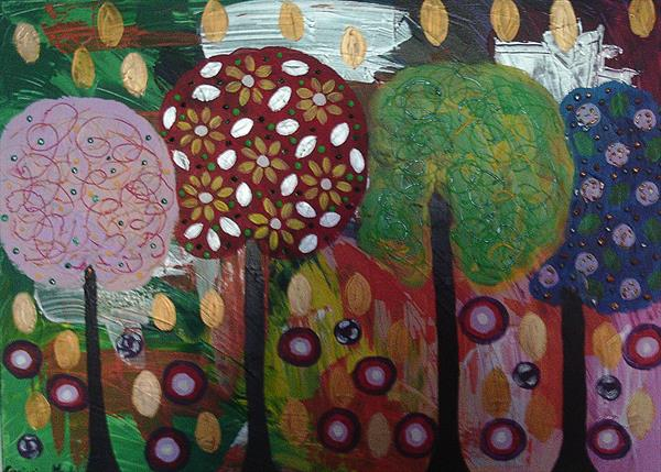 Golden Leaves with Lollipop Trees by Casimira Mostyn