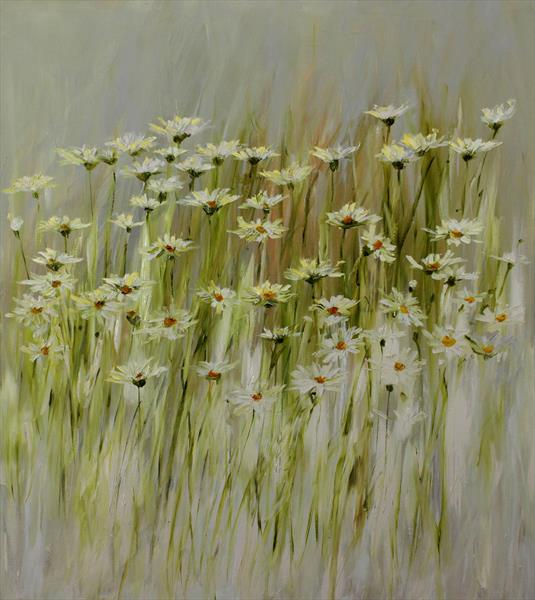 Camomiles in meadow by Margaret Raven