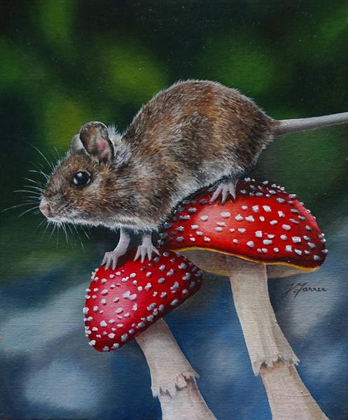 FLy Agaric with Mouse #2 by Jayne farrer