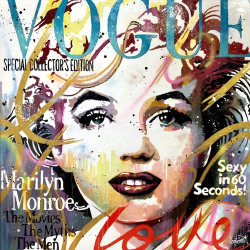 Marilyn Monroe Vogue, blue and gold version by Patrick Cornee