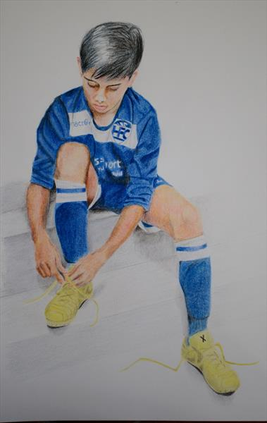 Boy with New Football Boots by John Aidan Neil Mackenzie