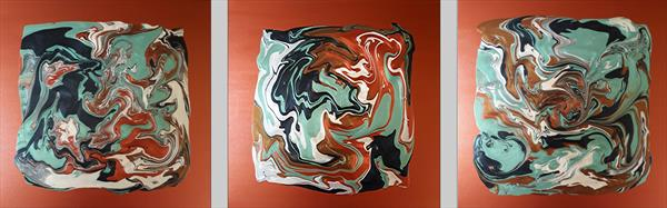 Metallic Copper and Mint Green Marble by Martin Rolt