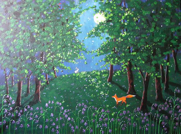 Moonlight in the bluebell wood