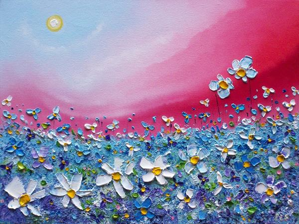 Wild blue meadow flower garden, original floral oil painting on raised canvas by artist Phil Broad by Phil broad
