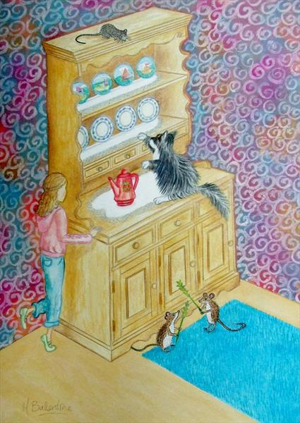 The Cat, Mice and Dresser by Mary Ballentine