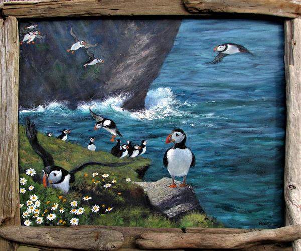 Puffins pouring in, Shetland by Peter Brook