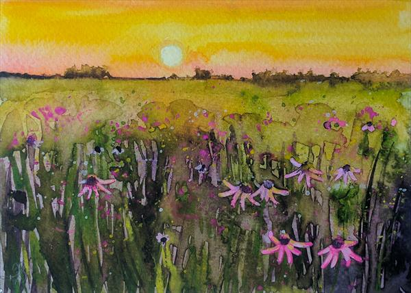 Sunset on Wildflowers by Tracy Butler