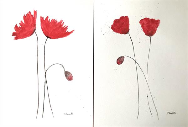 """Red flowers set of 2 (""""11x14"""") each by Monika Howarth"""